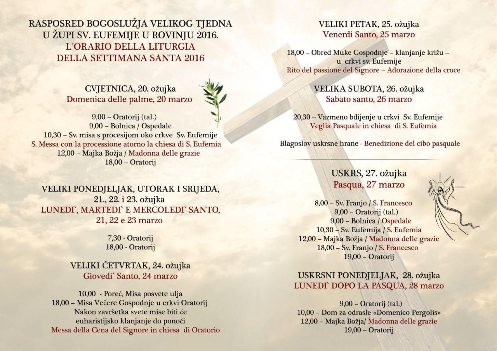 Raspored bogoslužja Velikog tjedna