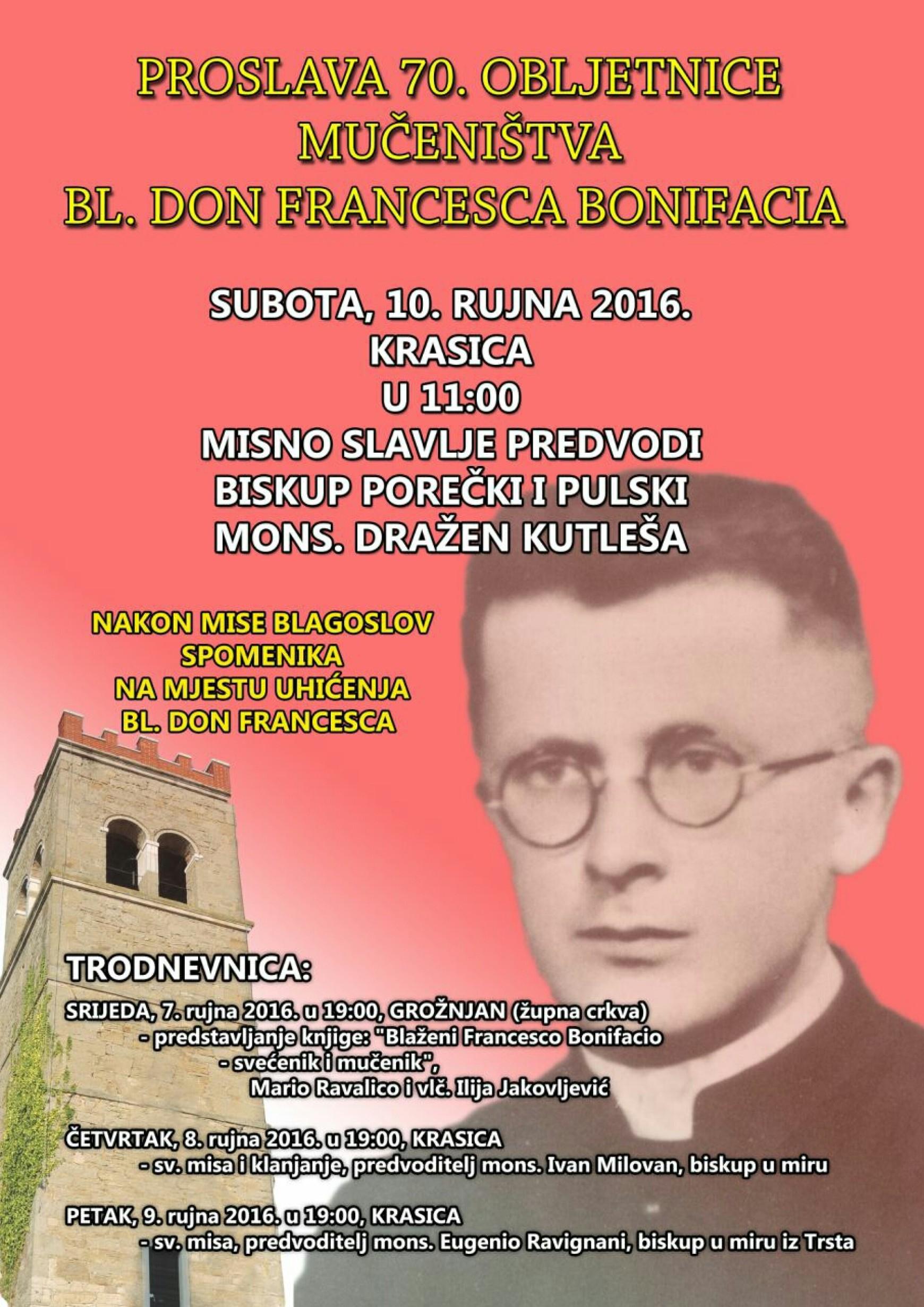 Proslava 70. obljetnice mučeništva bl. Don Francesca Bonifacia