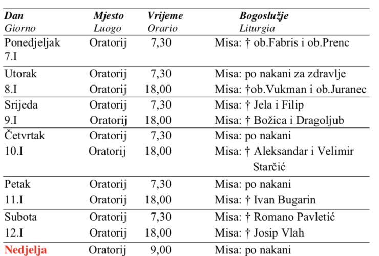 Tjedni raspored bogoslužja od 7. do 13. siječnja 2019.